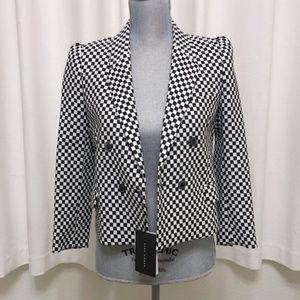 Zara women xs checkered blazer jacket NWT